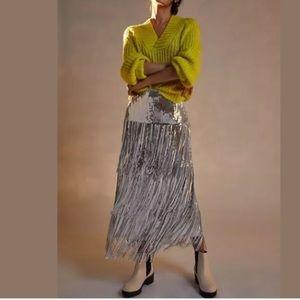 Anthro Maeve Tatiana Sequin Fringe Midi Skirt NWT
